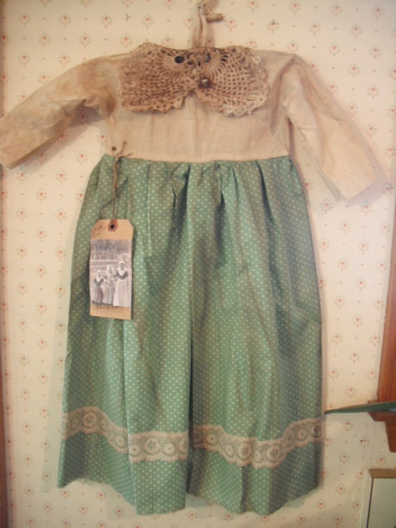 Primitive Prairie Doll Dress - Home Decor