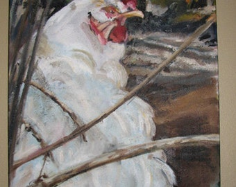Chicken oil painting on canvas
