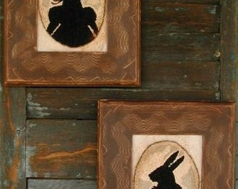 The Reverend and Mrs. Potter - 2 in 1 -  punch needle pattern - from Notforgotten - Farm Rabbit Silhouettes
