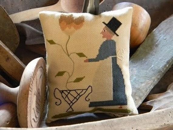 Tending the Tulip NEW cross stitch pattern from - Notforgotten Farm