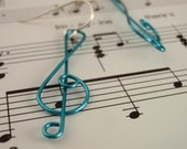 And On That Note Colorful G Clef Earrings in Pacific Blue