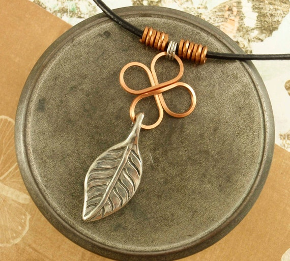 RESERVED Leather, Copper Necklace