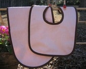 Monogrammed Bib and Burp Hampton Striped - Classic Striped Pink with Brown