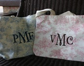 Personalize Toile Tote or Diaper Bag Pink or Blue Toile Pattern