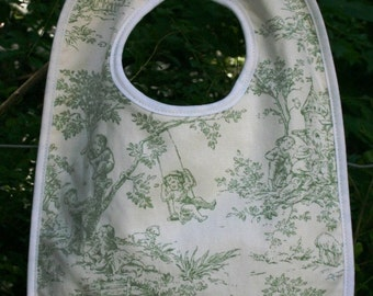 Monogrammed Green Toile Toddler Bib