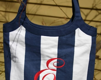 Monogrammed / Personalized Navy Blue & White Stripe Purse