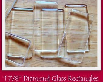 1 7/8 Inch Diamond Glass Rectangles- SET OF 50- Crystal clear glass- Perfect for pendants, decorative magnets, key chains, etc.