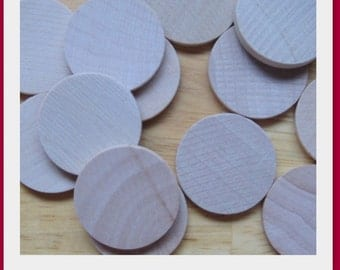 100 1 Inch Wood Circles- Great for making into pendants, decorative magnets, tic tac toe sets, etc..