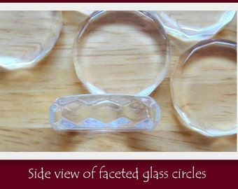 Faceted Glass Circles- SET OF 50- Highest quality of glass available- Crystal clear with NO scratches