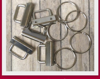 1.25 Inch Nickel Rectangular Top Key Fob Hardware- Set of 25 - Use to make mini key fobs and wristlets