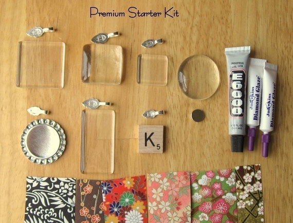 Premium Starter Kit- Learn how to make glass pendants, scrabble tile pendants, bottle cap pendants and glass decorative magnets