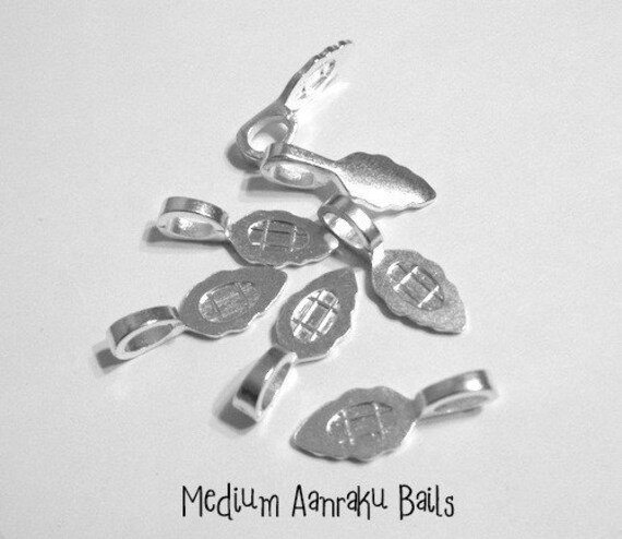 Set of 25 Medium Sterling Silver Plated Aanraku Jewelry Bails- Perfect for pendant making