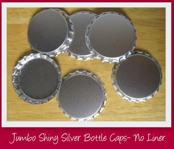 Jumbo Shiny Silver Bottle Caps-NO liner-Set of 10-Great for fridge magnets, scrapbooking and card making embellishments, etc