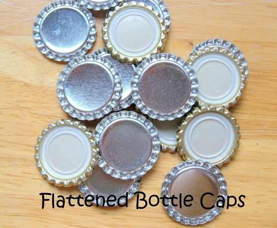 100 Flattened New Silver Bottle Caps- Perfect for fridge magnets, pins, pendants, scrapbooking and card making