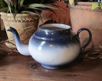 Enamel ware  Cobalt Blue Teapot, Vintage Granite ware