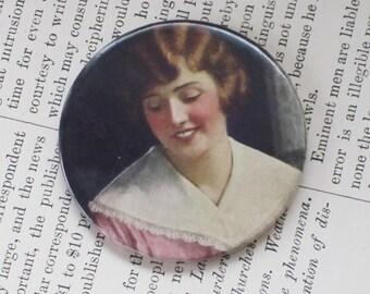 Pocket Mirror Antique Photo Button 1920 Lady Portrait
