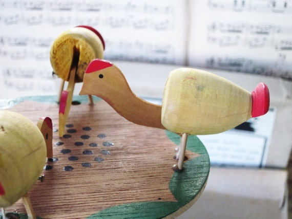 Handmade Vintage Toy Pecking Chickens,1950's Wood Paddle Game