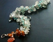 ON SALE -- Aquamarine, Apatite, Sunstone and Hessonite Garnet Gemstone Bracelet