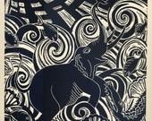 GAJENDRA the Elephant relief linocut