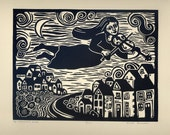 THE MUSICIAN'S View original relief linocut