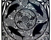 Perpetual Motion original relief linocut