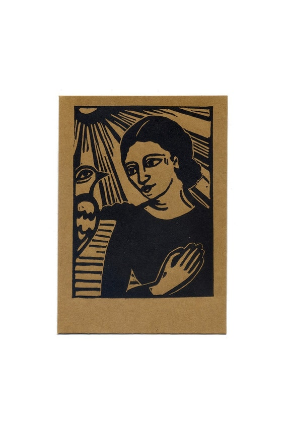 GRATITUDE original relief linocut card