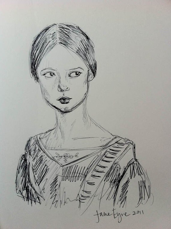 "ORIGINAL Illustration of Jane Eyre 8""x10"""