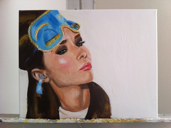 "ORIGINAL Painting - Holly Golightly Audrey Hepburn 11""x14"""