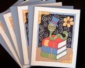 Bookworm  (4 Blank Cards)