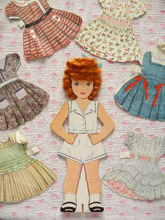 Vintage Curly Top Paper Doll With Real Hair