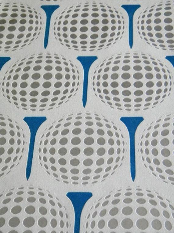 Vintage Mod Wallpaper Roll with Flocked Golf Balls