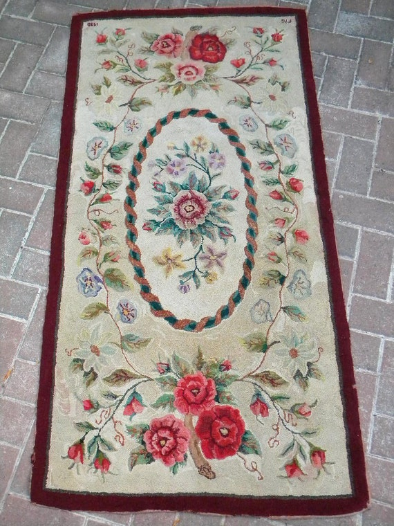 Reserved for Laurie-Antique 1930 Large Hand Hooked Wool Rug Signed and Dated