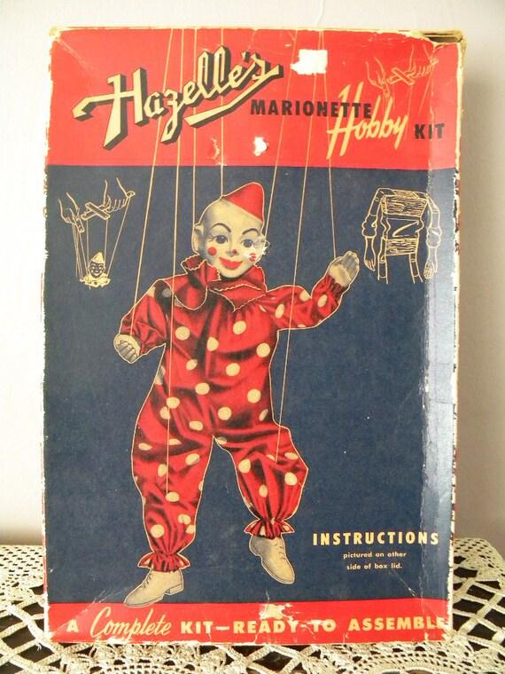 SALE-Vintage Hazelle's Marionette Hobby Kit - Teto the Clown