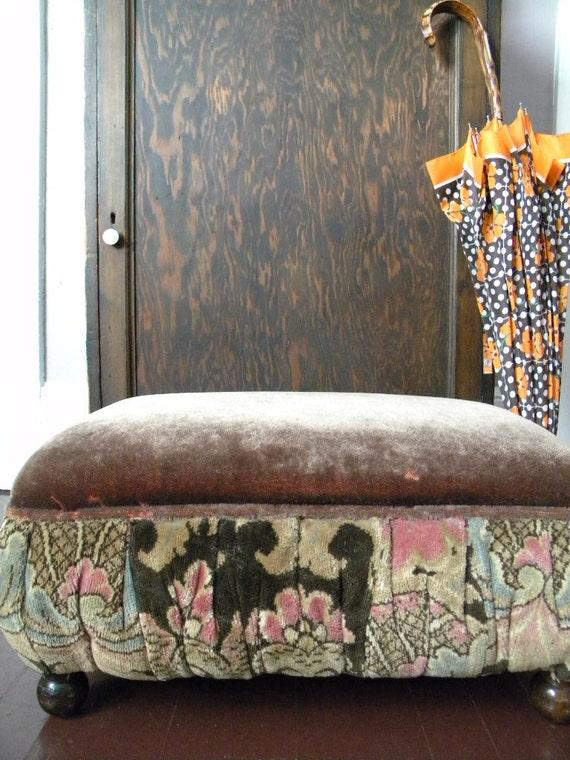 Antique Foot Stool Art Deco Mohair Ottoman