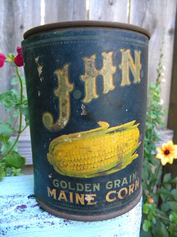 Antique JHN Tin Corn Can