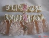 Ivory Satin and Blush Pink Lace Garter Set