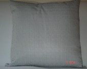 blue and white denim check cushion cover