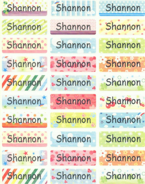 Colorful M waterproof washable personalized name label sticker tag baby girl child children kid school supply camp daycare