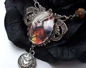SALE - W h i t e. R a b b i t. ...Victorian Filigree Pendant Necklace with Classic Tenniel Alice in Wonderland Illustration