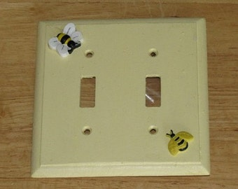 Double light switch plate cover - Bees