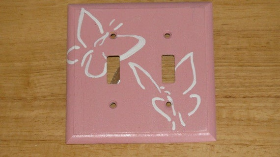 Light Switch Plate - Butterfly Pretty in Pink - painted on wood