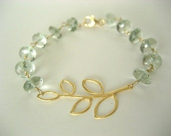 Golden Leaves...Green Amethyst Rondelles With Gold Leaves Bracelet...FREE SHIPPING