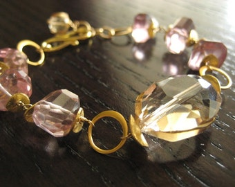 Pink Quartz, Champagne Quartz Bracelet...Gold-filled...Ready to Ship...FREE SHIPPING