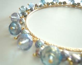 Nightfall...Mystic Blue Quartz and Freshwater Pearl Bangle Bracelet...Gold-filled...FREE SHIPPING