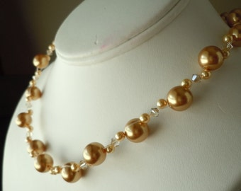 Double Strand Swarovski Pearl and Crystal necklace...with free matching earrings...Gold
