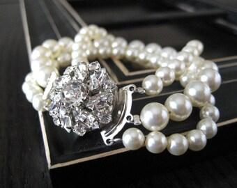 Brilla...Rhinestone Clasp and Swarovski Pearl Bracelet...Triple Strand...FREE SHIPPING