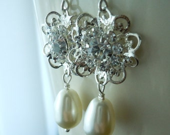 Swarovski Filigree Flower Scroll and Teardrop Pearl Earrings...FREE SHIPPING