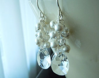 Bridal Bliss...Swarovski Pearl and Teardrop Crystal...Custom Made...Sterling Silver...FREE SHIPPING