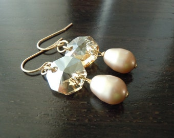 Standing Still...Octagon Shaped Swarovski Crystal and Teardrop Pearl...Gold-filled...FREE SHIPPING