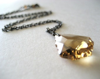 Baroque Swarovski Crystal Pendant on Oxidized Sterling Silver Chain...Ready to Ship...FREE SHIPPING